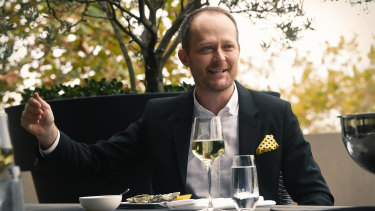 Hamilton producer Michael Cassel at one of the lunches he has hosted on his Potts Point terrace.
