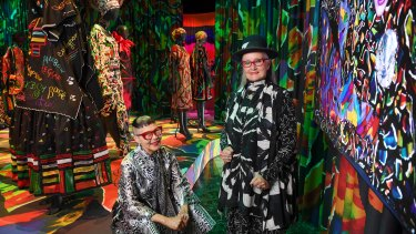 Designers Jenny Kee and Linda Jackson. The pair worked together on-and-off for four decades, pioneering a national style in clothing, using imagery of Australiana in conjunction with foreign design concepts.