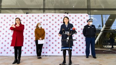 NSW Premier Gladys Berejiklian, NSW Chief Health Officer Dr Kerry Chant and NSW Police Deputy Commissioner Gary Worboys provide an update on COVID-19 on Saturday,