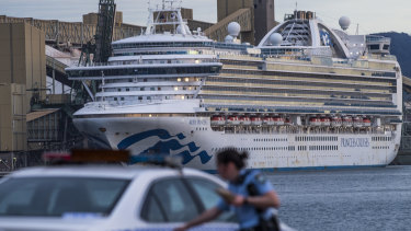 The Ruby Princess cruise ship docked in Port Kembla.