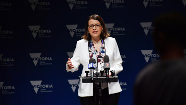Health Minister Jenny Mikakos addresses the media on Tuesday.
