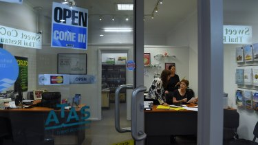 Cherrybrook Travel employees Elizabeth Ellis, Caroline Daley and Judy Mahony in the office in Westleigh Village.