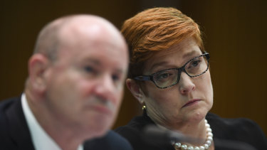 Foreign Minister Marise Payne with Defence Secretary Greg Moriarty during the Senate Estimates hearing on Wednesday.