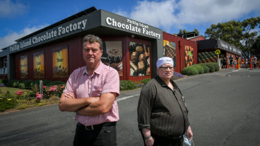 Geoff Mowd and Panny Letchumanan, co-owners of the Phillip Island Chocolate Factory.