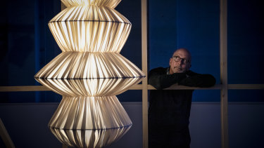 Hybrid's creative director Stephen Todd, with the HAVA pendant light and purifier.