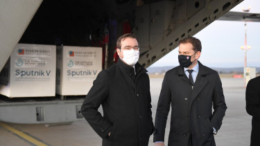Slovak Prime Minister Igor Matovic, right, and Health Minister Marek Krajci at Kosice Airport.