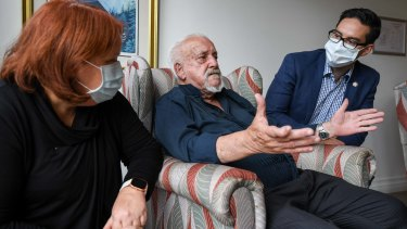 Josh Burns, right, has highlighted the plight of aged care residents who were slow to receive a vaccine against the coronavirus in his electorate.