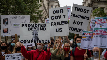 Students, teachers and parents last week protested after their A-level results were downgraded by by a government algorithm.