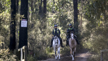 Mounted police searching along Forest Road near Labertouche on Monday as part of investigation into the suspicious disappearance of Dalibor Pantic.
