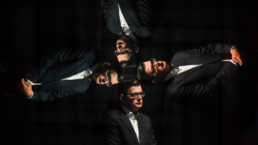 Premier Daniel Andrews photographed at a COVID-19 news conference on October 28