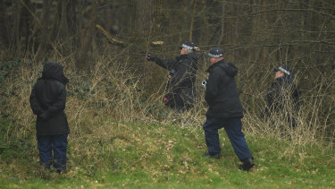 Police search a disused paintball centre during the investigation into the disappearance of a woman, Sarah Everard, last week in South London.