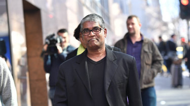 Roger Singaravelu outside Melbourne Magistrates Court on Wednesday following an appearance by Momena Shoma, the Bangladeshi woman accused of stabbing him.