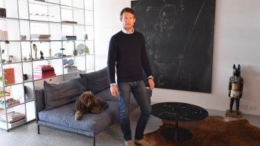 Art collector Nick Tobias at home in Bondi.