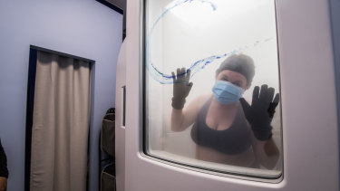Temperatures in the cryosauna get down to -165C.