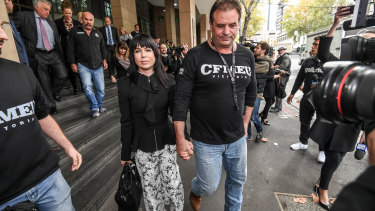 John Setka leaving court with wife Emma Walters in May, 2018, after blackmail charges against him were dropped.