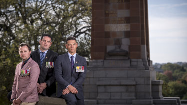 Pushing for change: Veterans Dave Petersen (left), Lucas Moon and Dan Cairnes.