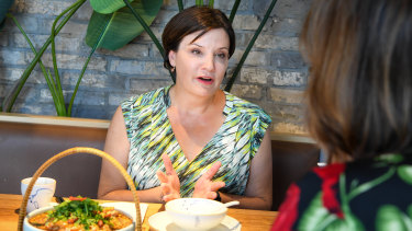 NSW Opposition Leader Jodi McKay lunches at one of her locals, Spicy Joint in Burwood.