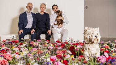 John Kaldor with Michael Landy and artist David Capra and dog Teena.