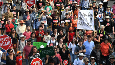 Thousands marched in the anti-Adani rally in Brisbane on Monday.
