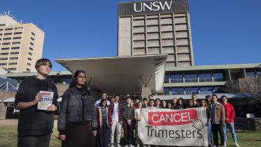 UNSW students Macy Reen and Hersha Kadkol want UNSW to dump its new trimester system.