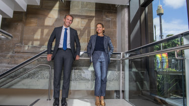 NSW Minister for Planning Rob Stokes with Government Architect Abbie Galvin at the Australian Museum, where old and new design converges.