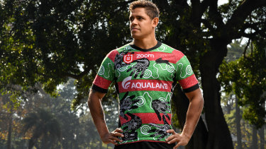 Tribute: Dane Gagai poses in South Sydney's Indigenous round jersey, which features the handprints of stars including Greg Inglis.