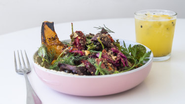 The cricket-themed Full Toss with roast pumpkin, roasted beets and dukkah.