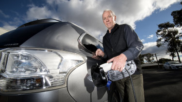 Paul Kirkpatrick  with his hybrid vehicle.