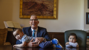 Sydney University vice-chancellor Michael Spence with sons Hugo and Theodore.