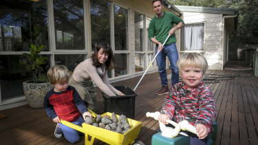 Luke Benedictus and wife Sarah Eagle with their two sons Joe, 2, and Marc, 3, at home in Sorrento.