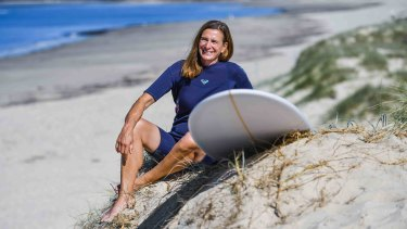 Meredith Ramadan began surfing last October to regain some control after COVID lockdown.
