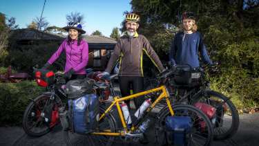 Peter Signorini and wife Margaret with their son Matt preparing for a bike trip this long weekend.