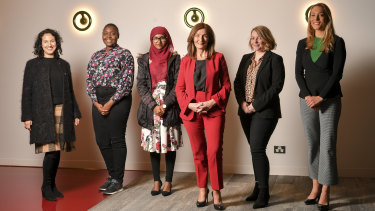 From left: Zac Hatzantonis, Avionne Prentice, Aadeeba Mau, Dorothy Hisgrove, Laura Yuile and Lara Jobling show the diversity of the PwC 'no-dress code' dress code.