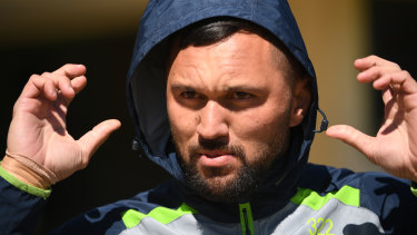 Frozen out: The NRL will not allow Jordan Rapana a quick return to Canberra.