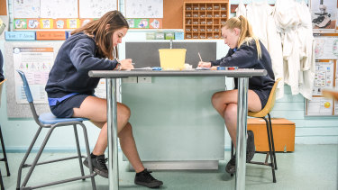 Students in a science class at Murrayville Community College.