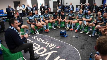'Madness': Brad Fittler addresses the victorious NSW players after the match.