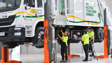 An electric waste management truck at SEA Electric's Dandenong South facility.