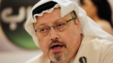 Saudi journalist Jamal Khashoggi pictured in 2015 at a  press conference in Manama, Bahrain.