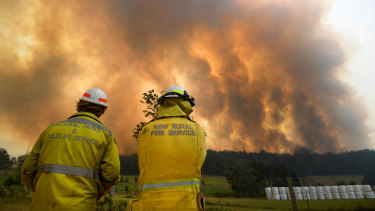 Smoke from a large bushfire outside Nana Glen, near Coffs Harbour.