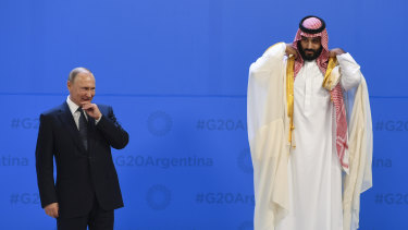Russian President Vladimir Putin  and Saudi Crown Prince Mohammad bin Salman. Both countries face a painful transition away from fossil fuel dependency.