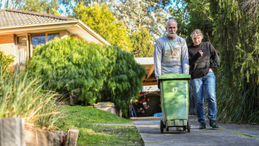 Liz Arnott and husband Brian Canty this week took their rubbish bin to the kerb for the first time in a year.