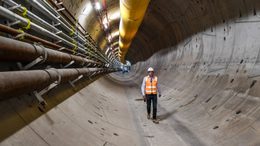 """The Metro Tunnel's second tunnel boring machine, """"Meg"""", has tunnelled hundreds of metres under West Melbourne."""