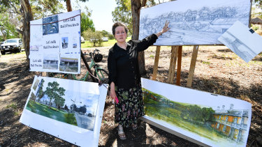 Kate Auty beside an artist's impression of how the bridge might look.