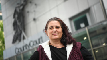 One of the survivors of Robert Gommeson, Tracey May, outside court on Wednesday.
