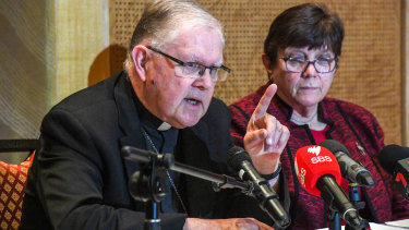 Australian Catholic Bishops Conference president Archbishop Mark Coleridge with Sister Monica Cavanagh of Catholic Religious Australia.