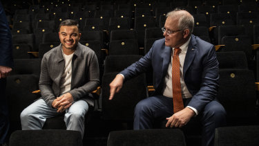 Guy Sebastian with Prime Minister Scott Morrison, who announced the JobMaker package at West HQ (formerly known as Rooty Hill RSL) on Thursday.