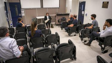 Ms Breheny meets staff at the Austin Hospital.