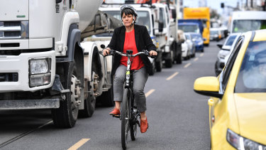 Moreland mayor Natalie Abboud on her electric bike.
