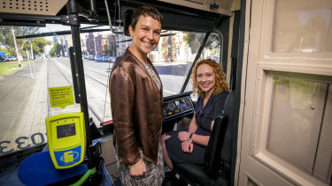 Public Transport Minister Melissa Horne (right) with Roads Minister Jaala Pulford.