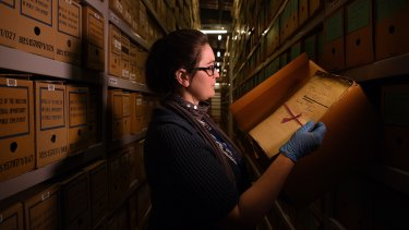 Archivist Sarah Gregory at the NSW State Archives. The government needed to carry out due diligence before proceeding with the single entity.